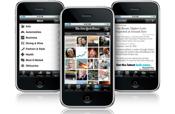 The New York Times on an iPhone.