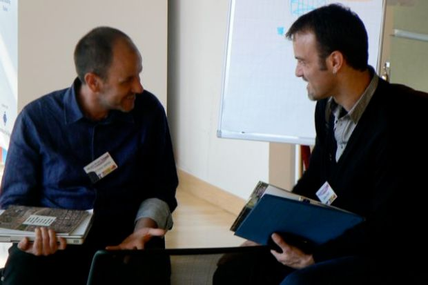 Peter Hayes, Director of the Visual Arts Network South Africa, and Julian Scaff, creative professional and ux expert, discuss building creative cultures at a conference in sustainability in Brussels, Belgium.