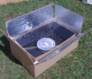 A solar cooker made from easily obtainable recycled trash materials. Appropriate design and technology that addresses a wide range of social and environmental problems.