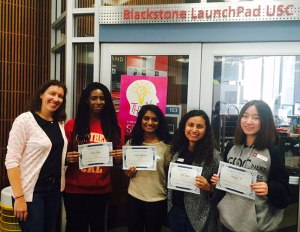 The winning UX team, from left to right: Sarah Dzida (mentor), Alison Omon, Nikita Dhesikan, Kenia Duque, and Lowrie Fu.