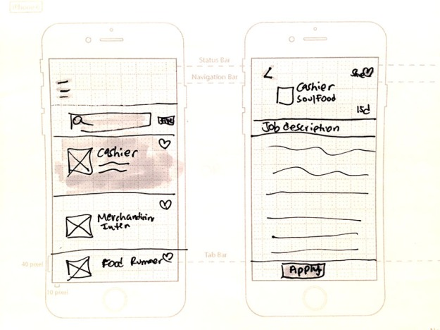 "Concept sketches for the ""Help a Family Grow"" app design."
