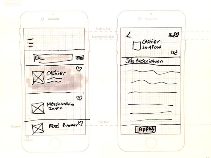 """Concept sketches for the """"Help a Family Grow"""" app design."""