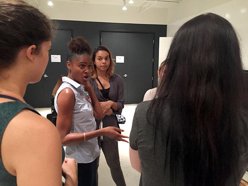Zaneta Smith talks with participants at SOLA/HACK.
